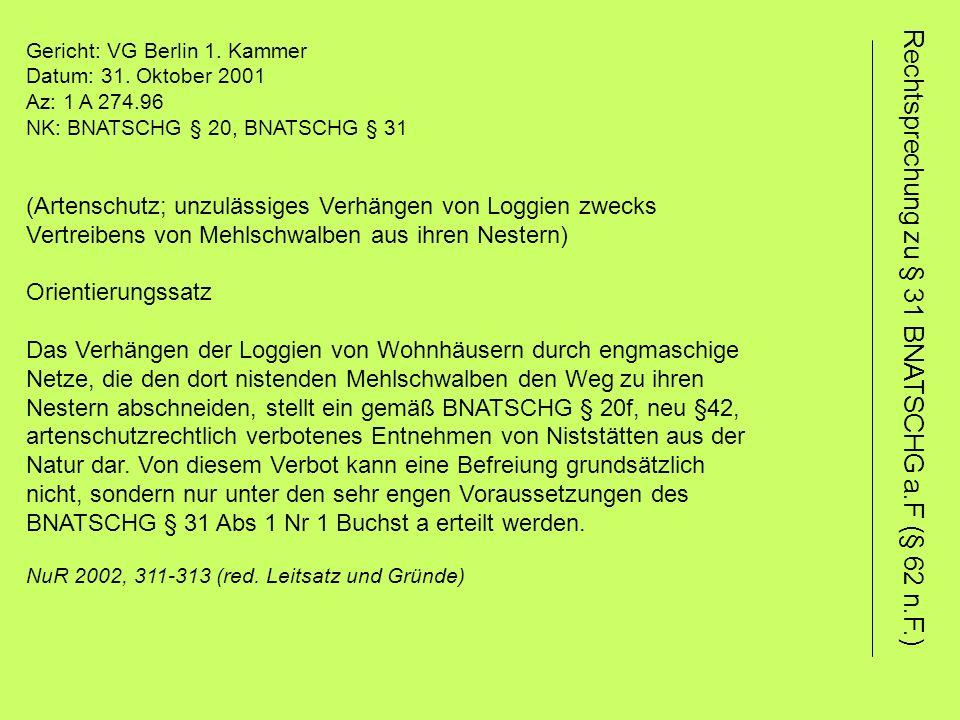 Gericht: VG Berlin 1. Kammer Datum: 31.