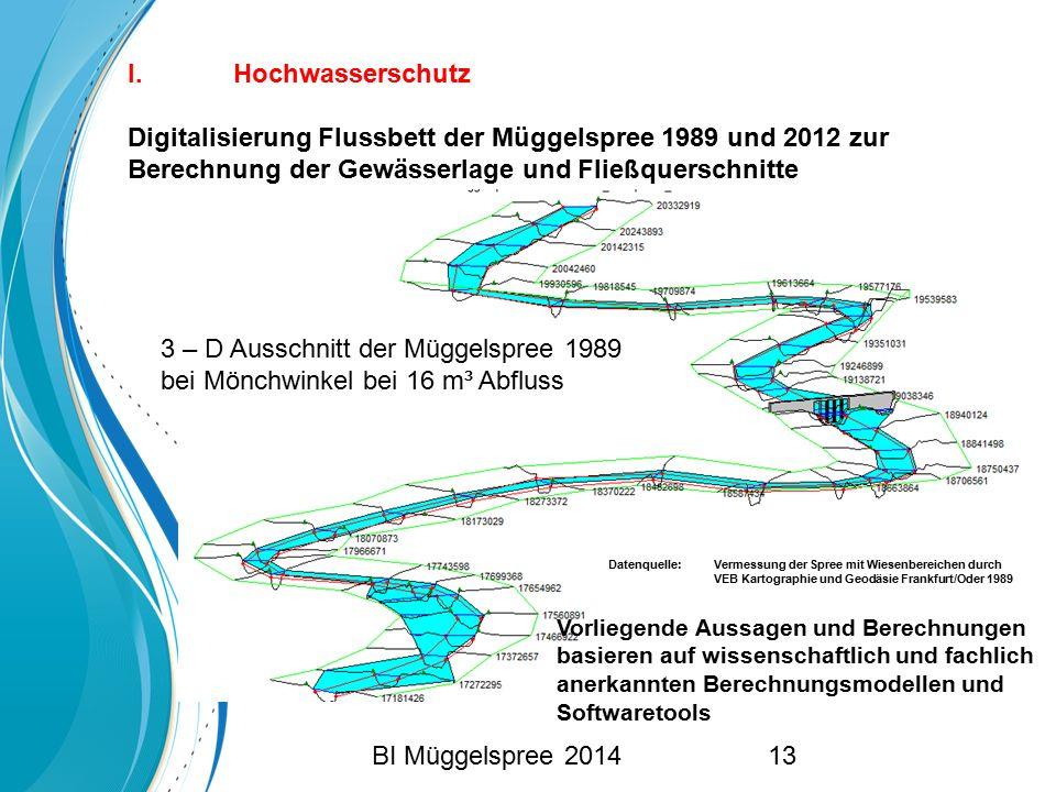 I. Hochwasserschutz Digitalisierung Flussbett der Müggelspree 1989 und 2012 zur Berechnung der Gewässerlage und Fließquerschnitte 3 – D Ausschnitt der