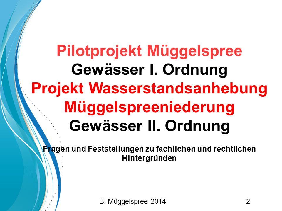Pilotprojekt Müggelspree Gewässer I. Ordnung Projekt Wasserstandsanhebung Müggelspreeniederung Gewässer II. Ordnung Fragen und Feststellungen zu fachl