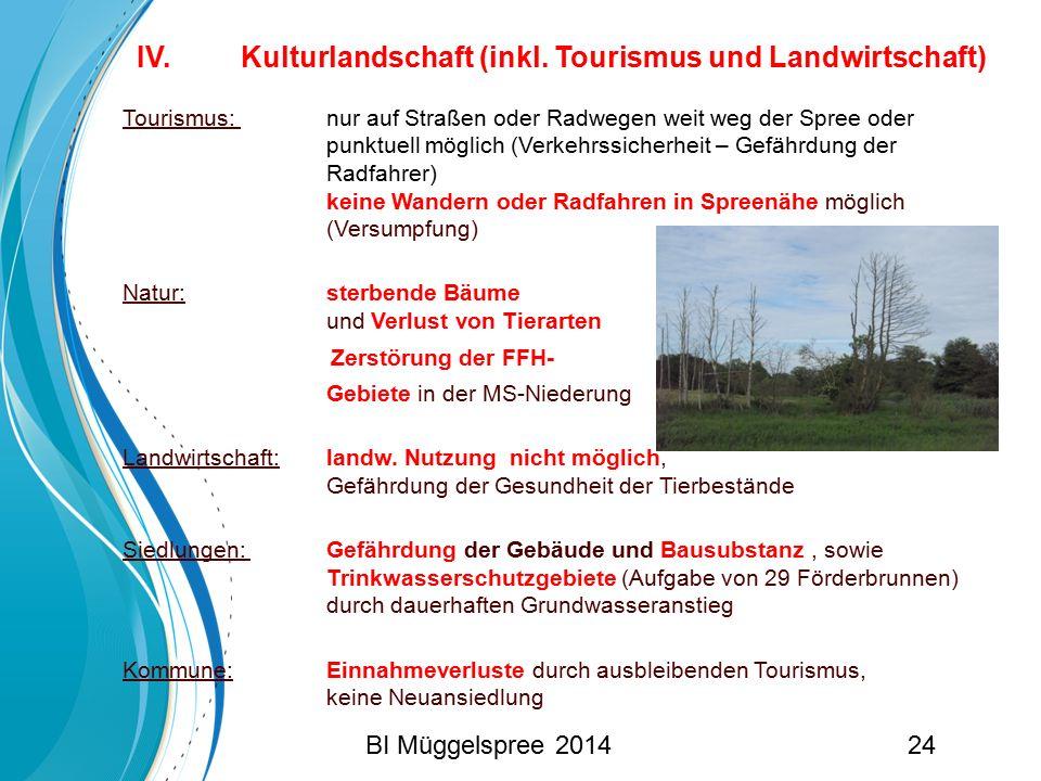 IV. Kulturlandschaft (inkl. Tourismus und Landwirtschaft) Tourismus: nur auf Straßen oder Radwegen weit weg der Spree oder punktuell möglich (Verkehrs