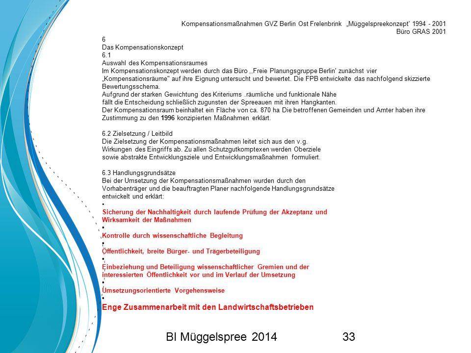 "BI Müggelspree 201433 Kompensationsmaßnahmen GVZ Berlin Ost Frelenbrink ""Müggelspreekonzept' 1994 - 2001 Büro GRAS 2001 6 Das Kompensationskonzept 6.1"