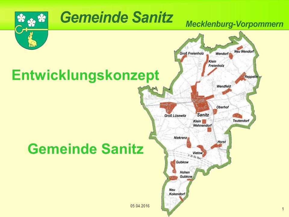 Entwicklungskonzept Gemeinde Sanitz 1 05.04.2016