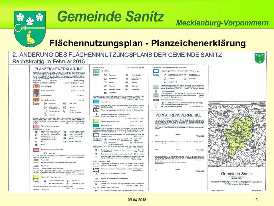 13 Flächennutzungsplan - Planzeichenerklärung 05.04.2016