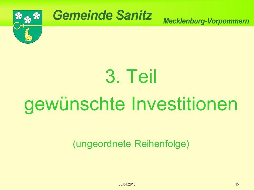 3. Teil gewünschte Investitionen (ungeordnete Reihenfolge) 05.04.201635