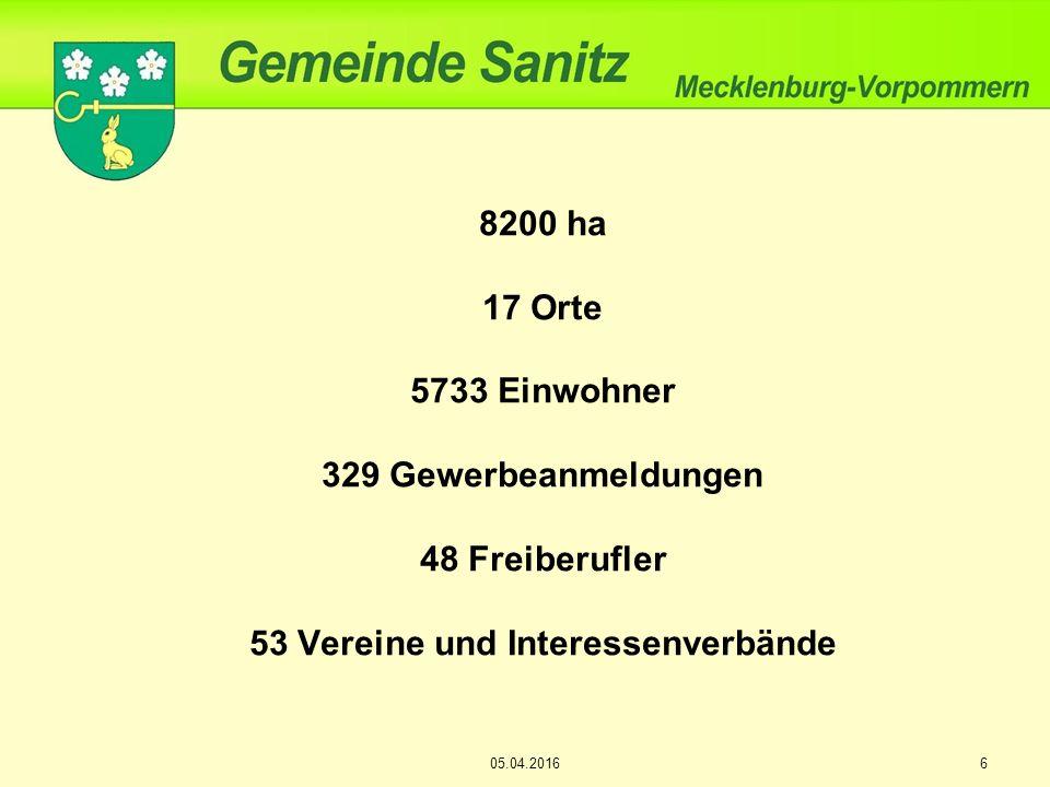 8200 ha 17 Orte 5733 Einwohner 329 Gewerbeanmeldungen 48 Freiberufler 53 Vereine und Interessenverbände 605.04.2016