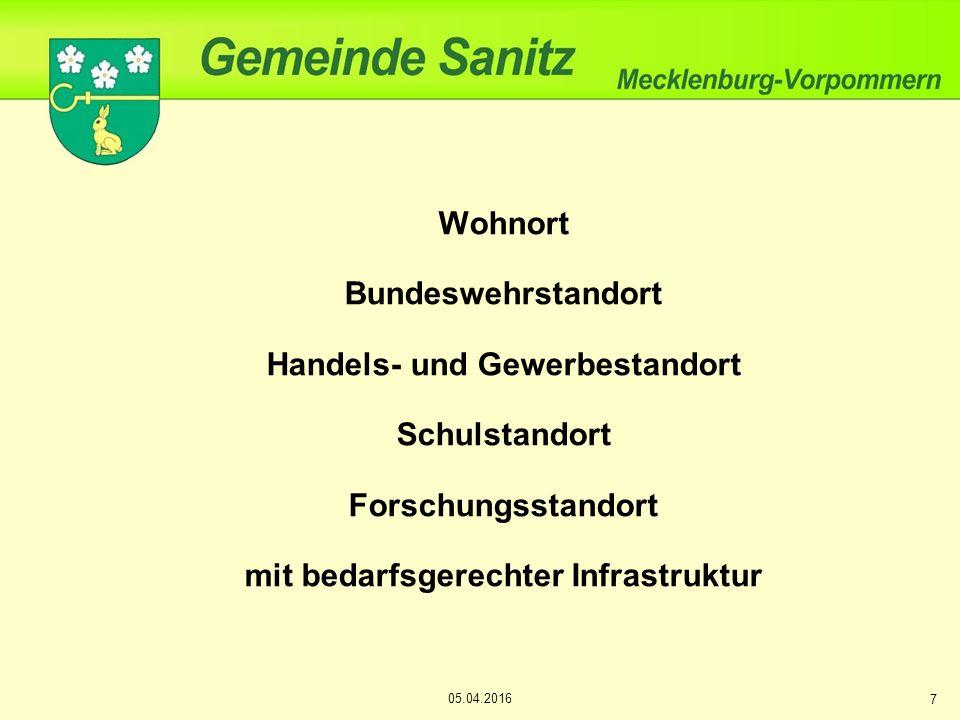 Wohnort Bundeswehrstandort Handels- und Gewerbestandort Schulstandort Forschungsstandort mit bedarfsgerechter Infrastruktur 7 05.04.2016