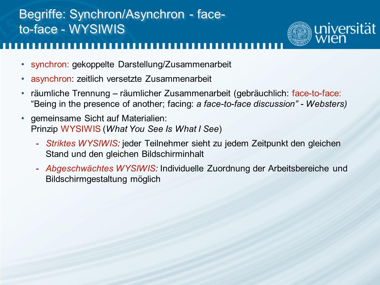 Begriffe: Synchron/Asynchron - face- to-face - WYSIWIS synchron: gekoppelte Darstellung/Zusammenarbeit asynchron: zeitlich versetzte Zusammenarbeit räumliche Trennung – räumlicher Zusammenarbeit (gebräuchlich: face-to-face: Being in the presence of another; facing: a face-to-face discussion - Websters) gemeinsame Sicht auf Materialien: Prinzip WYSIWIS (What You See Is What I See)  Striktes WYSIWIS: jeder Teilnehmer sieht zu jedem Zeitpunkt den gleichen Stand und den gleichen Bildschirminhalt  Abgeschwächtes WYSIWIS: Individuelle Zuordnung der Arbeitsbereiche und Bildschirmgestaltung möglich