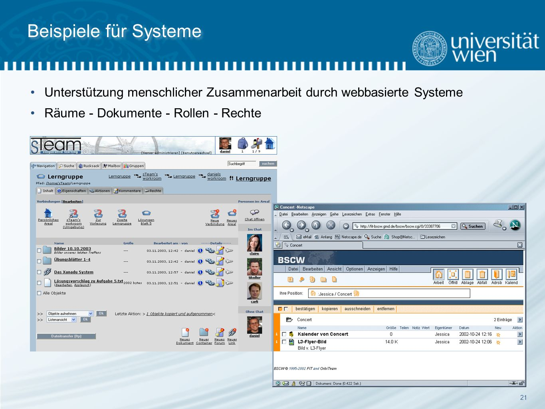 21 Beispiele für Systeme Unterstützung menschlicher Zusammenarbeit durch webbasierte Systeme Räume - Dokumente - Rollen - Rechte