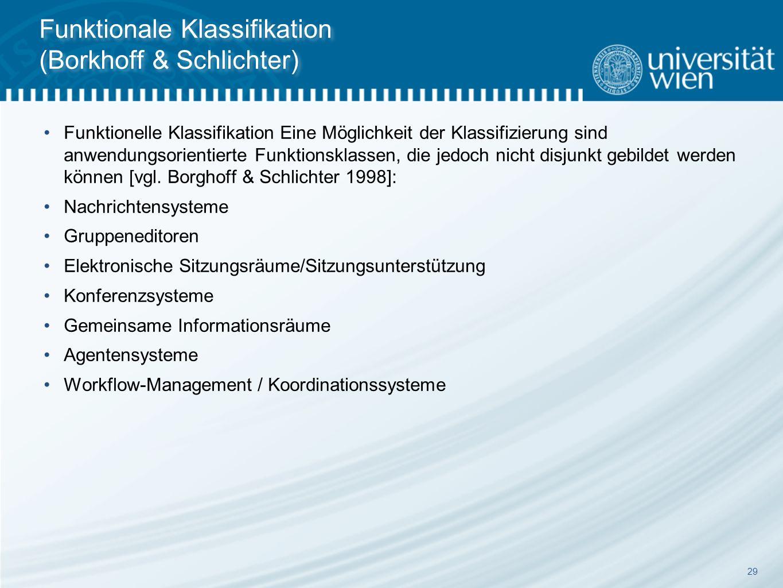 29 Funktionale Klassifikation (Borkhoff & Schlichter) Funktionelle Klassifikation Eine Möglichkeit der Klassifizierung sind anwendungsorientierte Funktionsklassen, die jedoch nicht disjunkt gebildet werden können [vgl.
