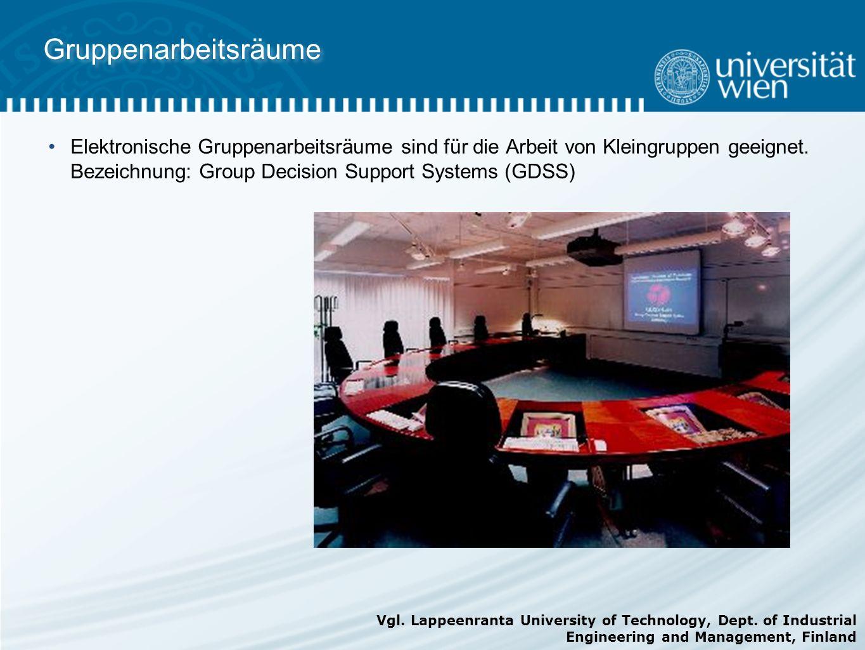 Gruppenarbeitsräume Elektronische Gruppenarbeitsräume sind für die Arbeit von Kleingruppen geeignet. Bezeichnung: Group Decision Support Systems (GDSS