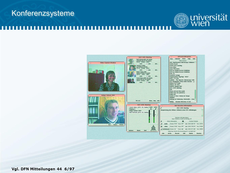 Konferenzsysteme Vgl. DFN Mitteilungen 44 6/97