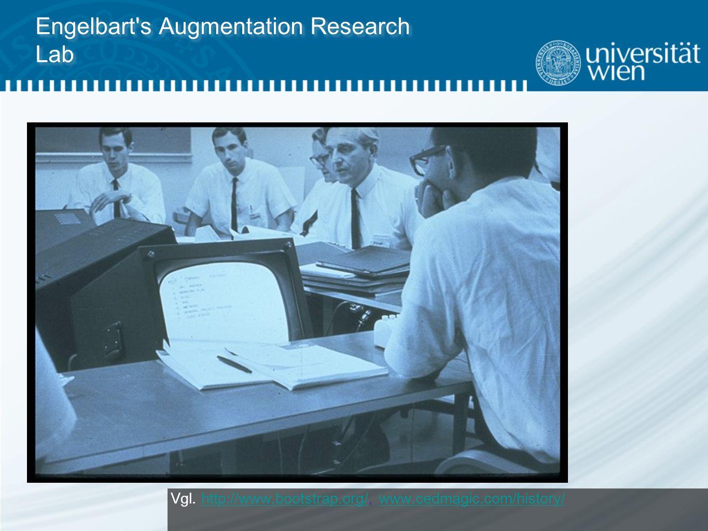 """Computergestützte Unterstützung einer Gruppe Mitte der 60er Jahre: Douglas Engelbart entwickelt das NLS-System """"Augmention System die Unterstützung menschlicher Fähigkeiten durch Computer (vgl."""