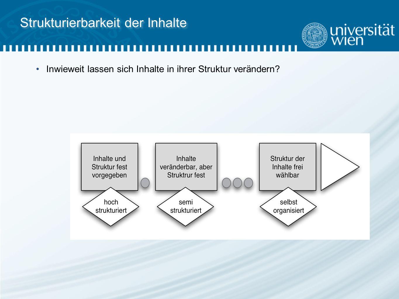 Strukturierbarkeit der Inhalte Inwieweit lassen sich Inhalte in ihrer Struktur verändern
