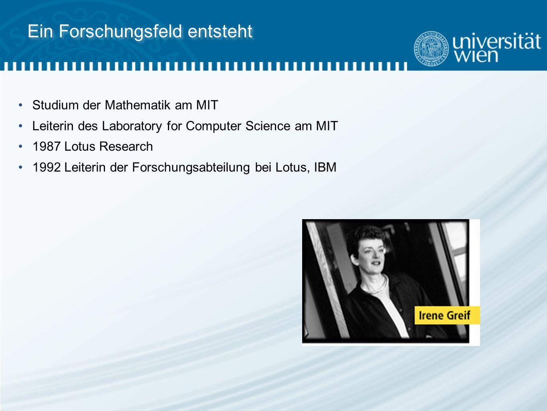 Ein Forschungsfeld entsteht Studium der Mathematik am MIT Leiterin des Laboratory for Computer Science am MIT 1987 Lotus Research 1992 Leiterin der Forschungsabteilung bei Lotus, IBM