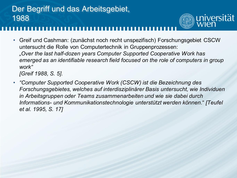 Der Begriff und das Arbeitsgebiet, 1988 Greif und Cashman: (zunächst noch recht unspezifisch) Forschungsgebiet CSCW untersucht die Rolle von Computert
