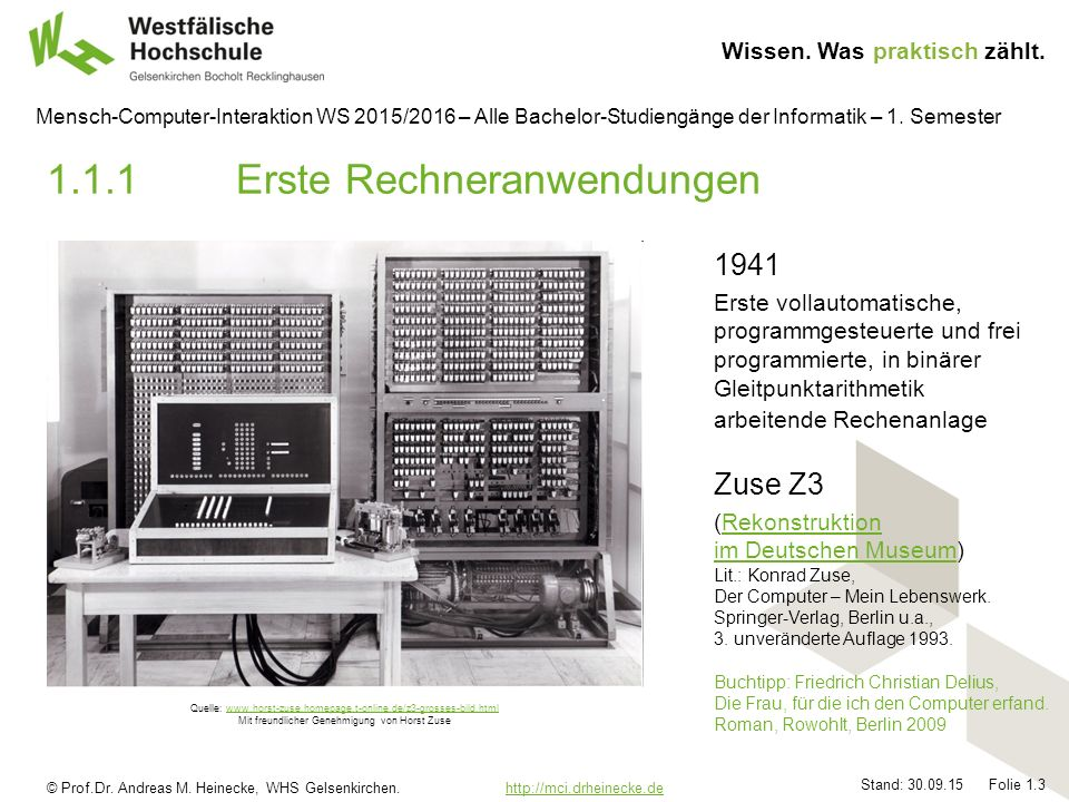 © Prof.Dr. Andreas M. Heinecke, WHS Gelsenkirchen. http://mci.drheinecke.dehttp://mci.drheinecke.de Wissen. Was praktisch zählt. Stand: 30.09.15 Folie