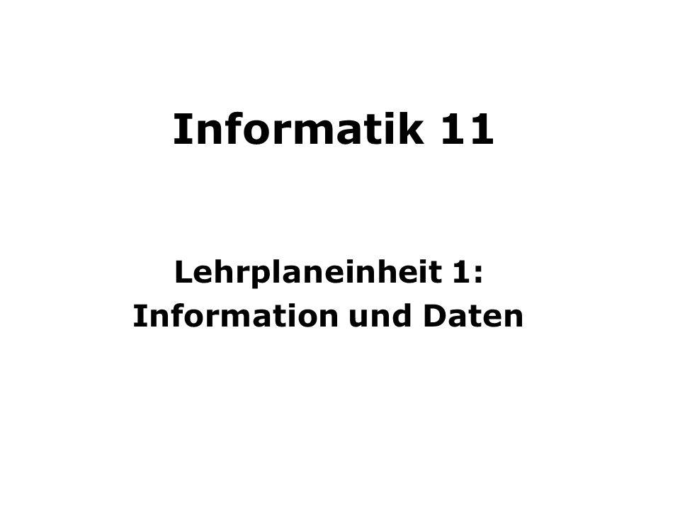 Informatik 11 Lehrplaneinheit 1: Information und Daten