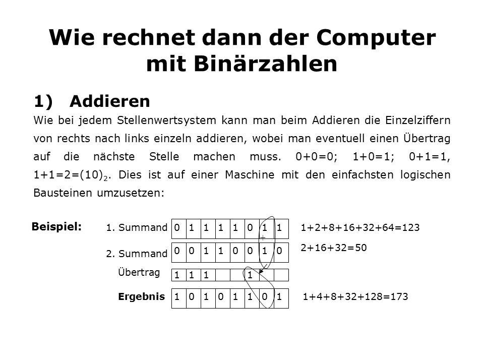 Wie rechnet dann der Computer mit Binärzahlen 1) Addieren Wie bei jedem Stellenwertsystem kann man beim Addieren die Einzelziffern von rechts nach links einzeln addieren, wobei man eventuell einen Übertrag auf die nächste Stelle machen muss.