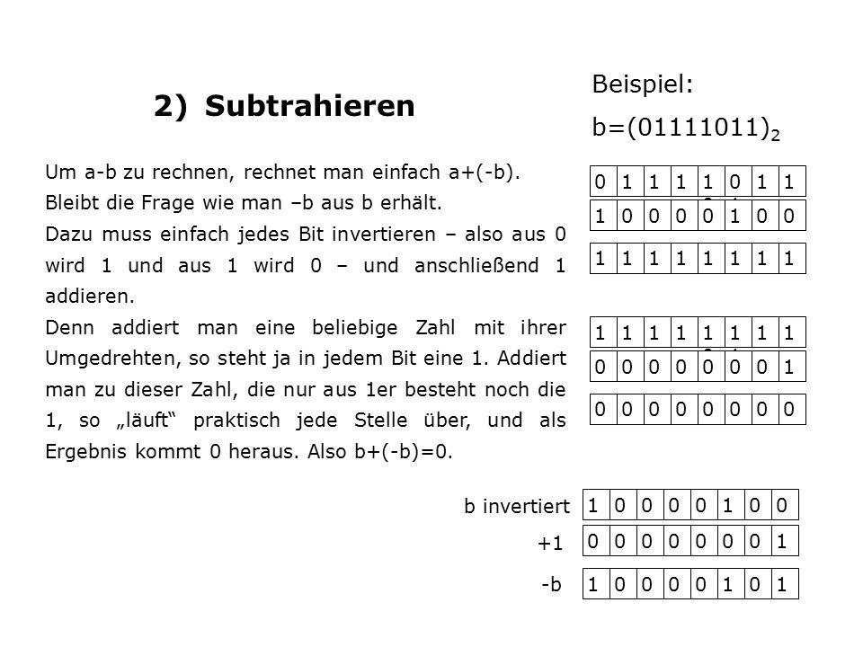 2) Subtrahieren 01111010 0101 11 10000100 11111111 Um a-b zu rechnen, rechnet man einfach a+(-b).