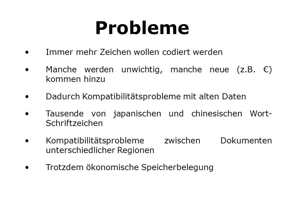 Probleme Immer mehr Zeichen wollen codiert werden Manche werden unwichtig, manche neue (z.B.