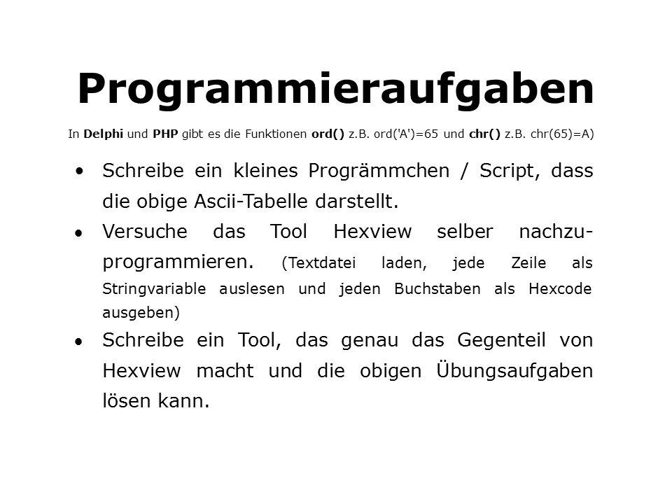 Programmieraufgaben In Delphi und PHP gibt es die Funktionen ord() z.B.