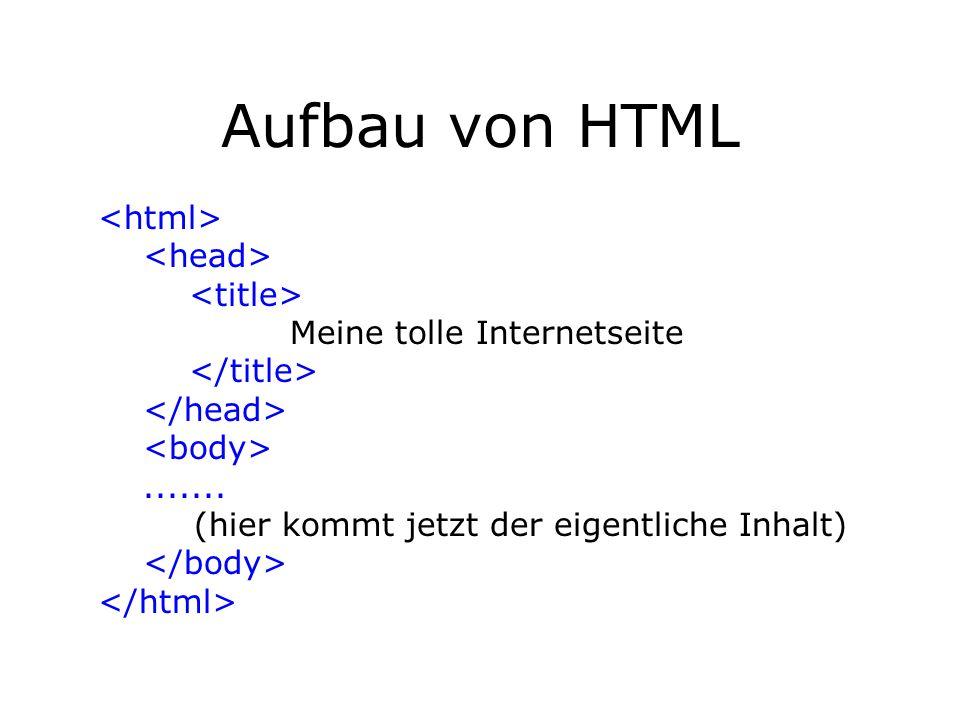 Aufbau von HTML Meine tolle Internetseite....... (hier kommt jetzt der eigentliche Inhalt)