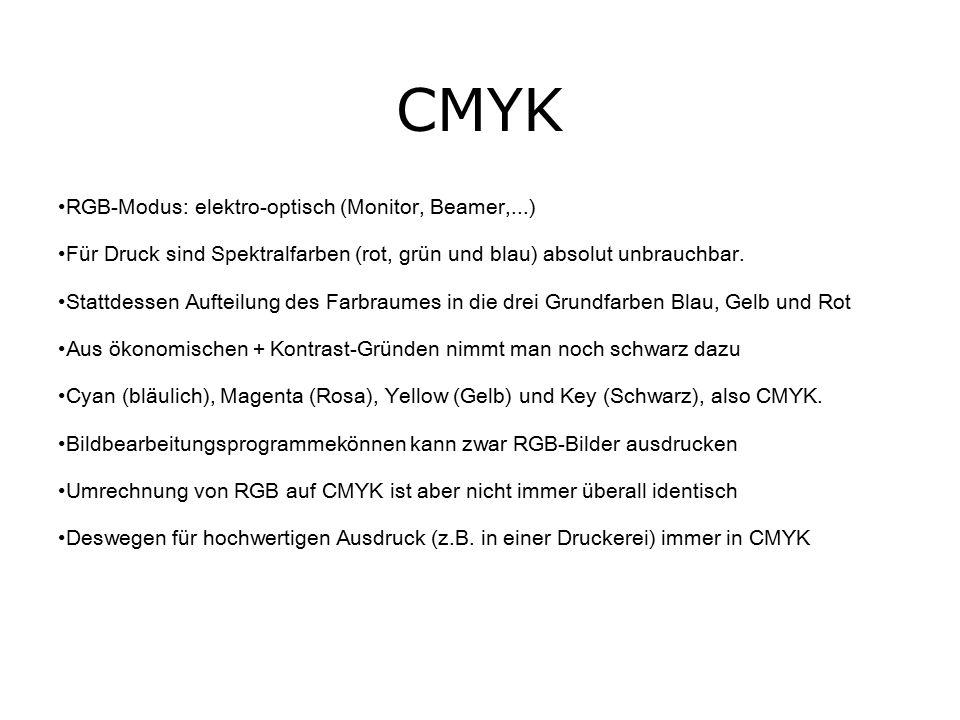 CMYK RGB-Modus: elektro-optisch (Monitor, Beamer,...) Für Druck sind Spektralfarben (rot, grün und blau) absolut unbrauchbar.