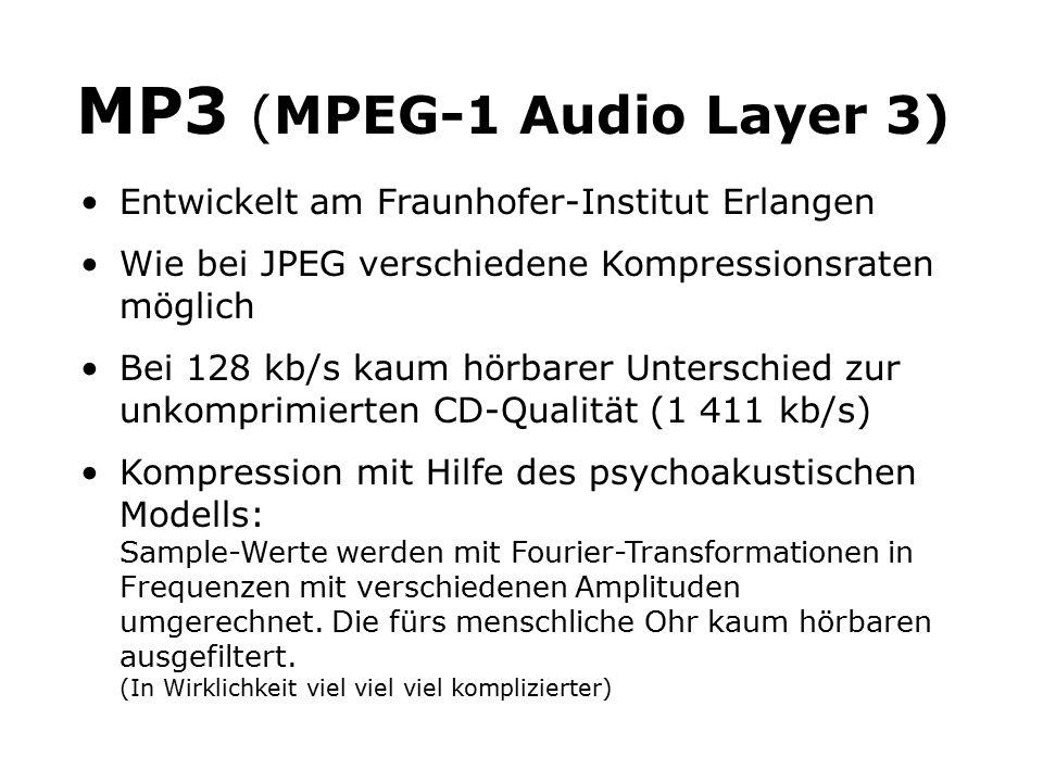 MP3 (MPEG-1 Audio Layer 3) Entwickelt am Fraunhofer-Institut Erlangen Wie bei JPEG verschiedene Kompressionsraten möglich Bei 128 kb/s kaum hörbarer Unterschied zur unkomprimierten CD-Qualität (1 411 kb/s) Kompression mit Hilfe des psychoakustischen Modells: Sample-Werte werden mit Fourier-Transformationen in Frequenzen mit verschiedenen Amplituden umgerechnet.