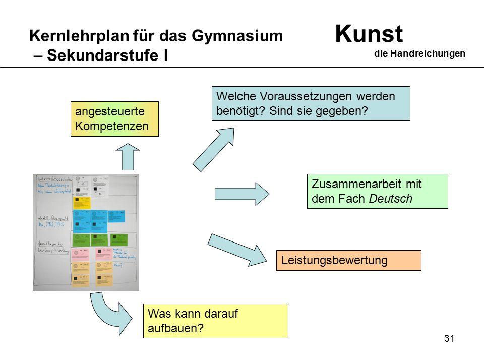31 Kernlehrplan für das Gymnasium – Sekundarstufe I Kunst die Handreichungen Leistungsbewertung Zusammenarbeit mit dem Fach Deutsch Welche Voraussetzungen werden benötigt.