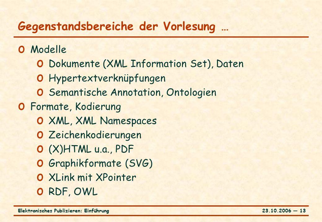 23.10.2006 ― 13Elektronisches Publizieren: Einführung Gegenstandsbereiche der Vorlesung … o Modelle o Dokumente (XML Information Set), Daten o Hypertextverknüpfungen o Semantische Annotation, Ontologien o Formate, Kodierung o XML, XML Namespaces o Zeichenkodierungen o (X)HTML u.a., PDF o Graphikformate (SVG) o XLink mit XPointer o RDF, OWL