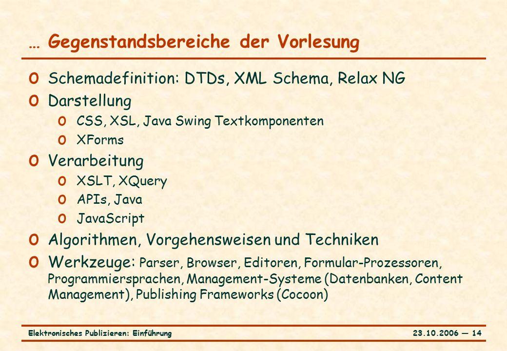 23.10.2006 ― 14Elektronisches Publizieren: Einführung … Gegenstandsbereiche der Vorlesung o Schemadefinition: DTDs, XML Schema, Relax NG o Darstellung o CSS, XSL, Java Swing Textkomponenten o XForms o Verarbeitung o XSLT, XQuery o APIs, Java o JavaScript o Algorithmen, Vorgehensweisen und Techniken o Werkzeuge: Parser, Browser, Editoren, Formular-Prozessoren, Programmiersprachen, Management-Systeme (Datenbanken, Content Management), Publishing Frameworks (Cocoon)