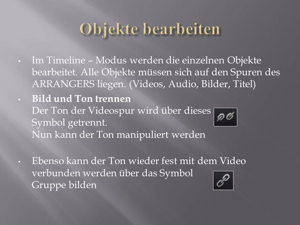 Im Timeline – Modus werden die einzelnen Objekte bearbeitet. Alle Objekte müssen sich auf den Spuren des ARRANGERS liegen. (Videos, Audio, Bilder, Tit
