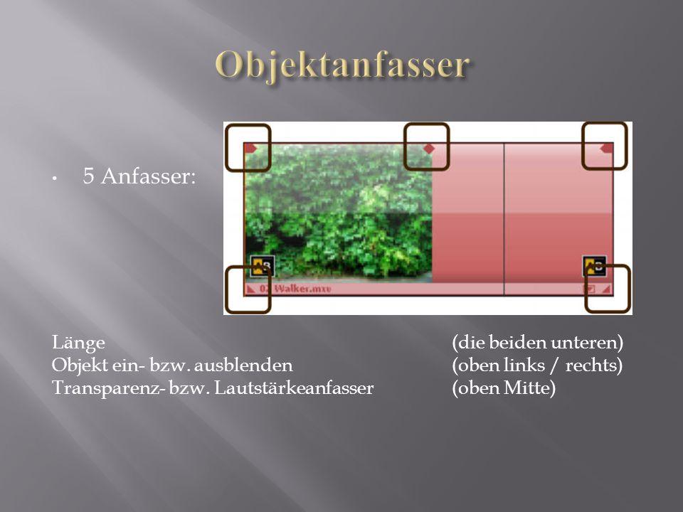 5 Anfasser: Länge (die beiden unteren) Objekt ein- bzw. ausblenden (oben links / rechts) Transparenz- bzw. Lautstärkeanfasser (oben Mitte)