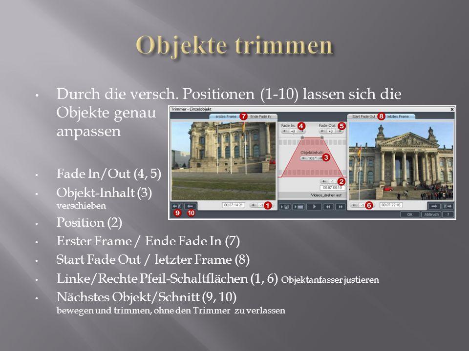Durch die versch. Positionen (1-10) lassen sich die Objekte genau anpassen Fade In/Out (4, 5) Objekt-Inhalt (3) verschieben Position (2) Erster Frame