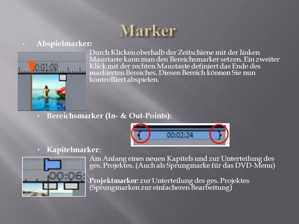 Abspielmarker:  Durch Klicken oberhalb der Zeitschiene mit der linken Maustaste kann man den Bereichsmarker setzen. Ein zweiter Klick mit der rechten