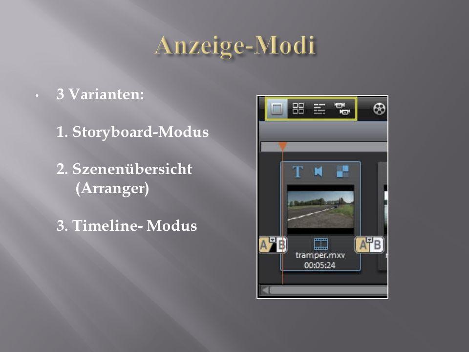 3 Varianten: 1. Storyboard-Modus 2. Szenenübersicht (Arranger) 3. Timeline- Modus