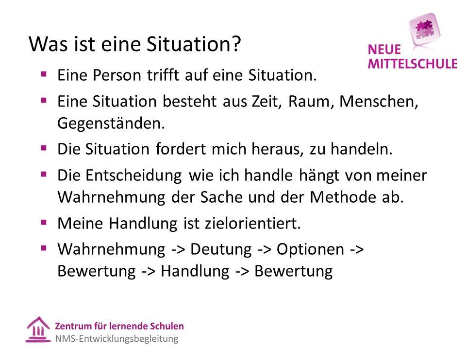 Was ist eine Situation?  Eine Person trifft auf eine Situation.  Eine Situation besteht aus Zeit, Raum, Menschen, Gegenständen.  Die Situation ford