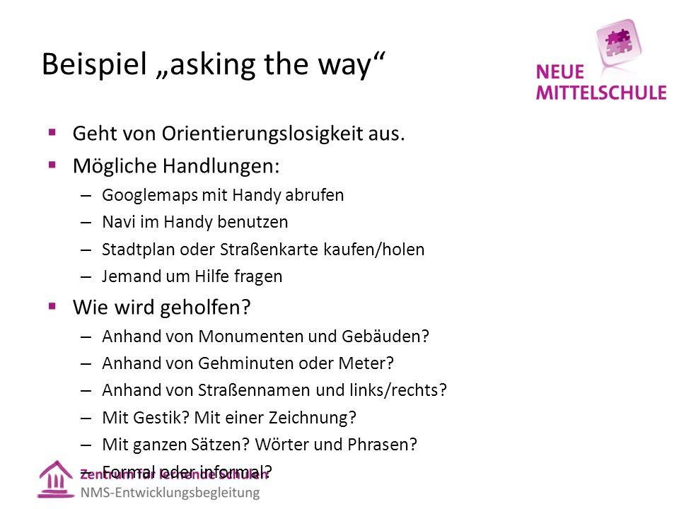 """Beispiel """"asking the way""""  Geht von Orientierungslosigkeit aus.  Mögliche Handlungen: – Googlemaps mit Handy abrufen – Navi im Handy benutzen – Stad"""