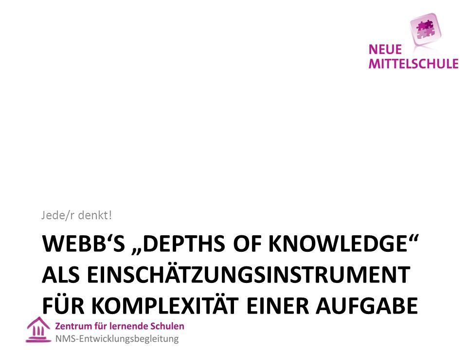 """WEBB'S """"DEPTHS OF KNOWLEDGE"""" ALS EINSCHÄTZUNGSINSTRUMENT FÜR KOMPLEXITÄT EINER AUFGABE Jede/r denkt!"""