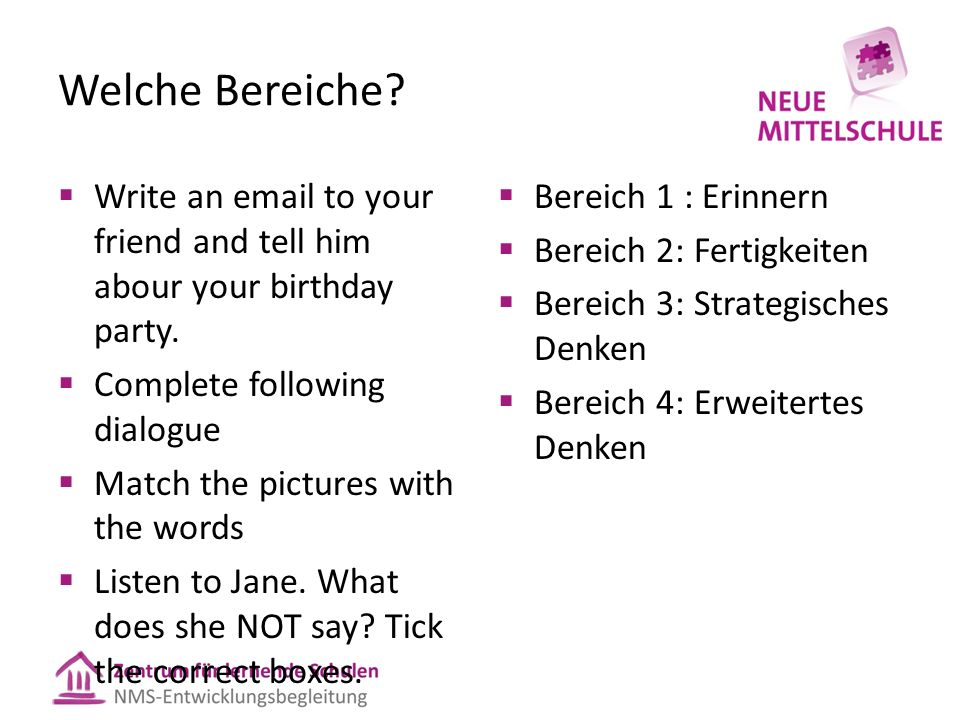 Welche Bereiche?  Write an email to your friend and tell him abour your birthday party.  Complete following dialogue  Match the pictures with the w
