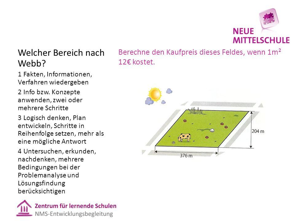 Berechne den Kaufpreis dieses Feldes, wenn 1m² 12€ kostet. Welcher Bereich nach Webb? 1 Fakten, Informationen, Verfahren wiedergeben 2 Info bzw. Konze