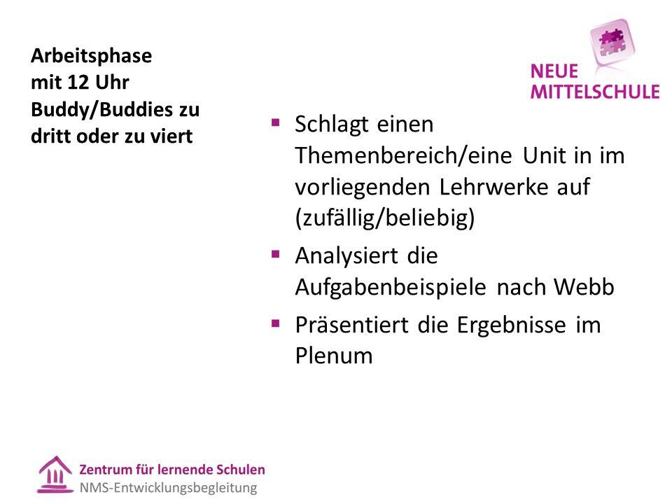 Arbeitsphase mit 12 Uhr Buddy/Buddies zu dritt oder zu viert  Schlagt einen Themenbereich/eine Unit in im vorliegenden Lehrwerke auf (zufällig/belieb