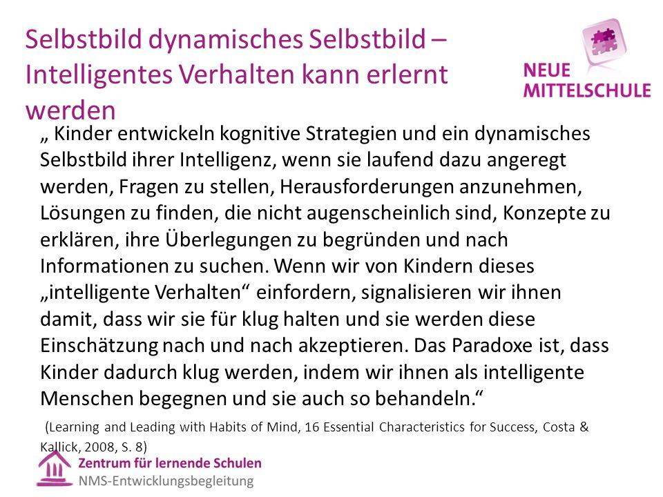"""Selbstbild dynamisches Selbstbild – Intelligentes Verhalten kann erlernt werden """" Kinder entwickeln kognitive Strategien und ein dynamisches Selbstbil"""