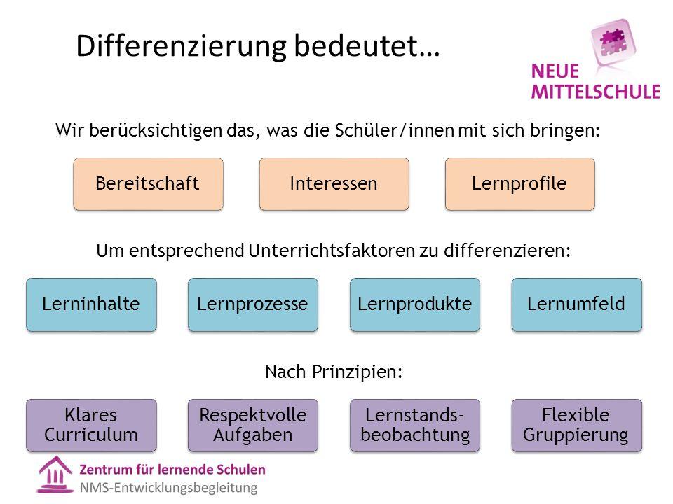 Differenzierung bedeutet… Wir berücksichtigen das, was die Schüler/innen mit sich bringen: Um entsprechend Unterrichtsfaktoren zu differenzieren: Nach