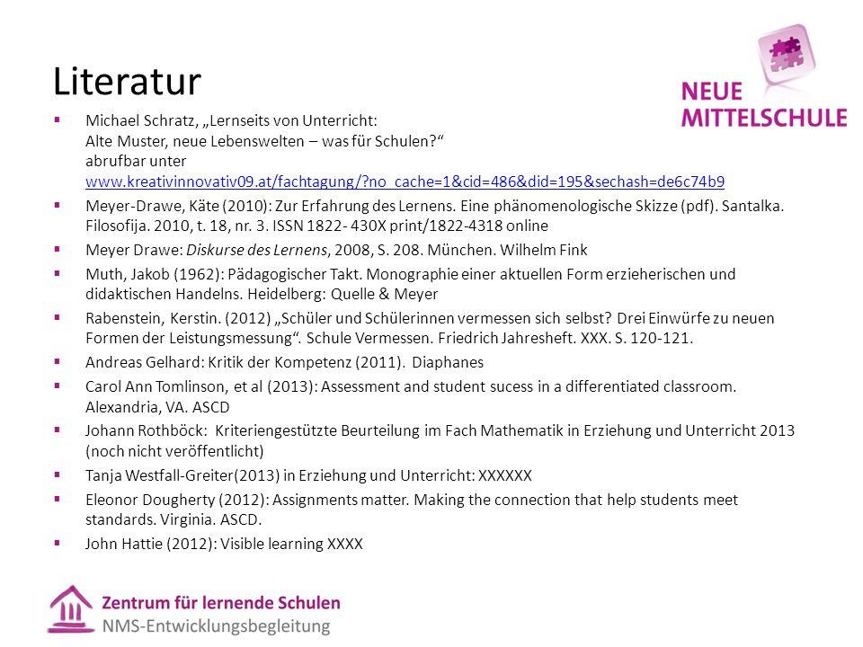 """Literatur  Michael Schratz, """"Lernseits von Unterricht: Alte Muster, neue Lebenswelten – was für Schulen?"""" abrufbar unter www.kreativinnovativ09.at/fa"""