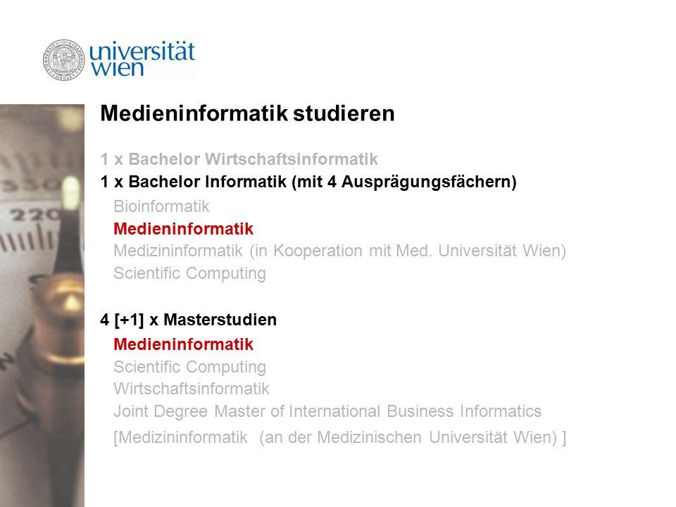Medieninformatik studieren 1 x Bachelor Wirtschaftsinformatik 1 x Bachelor Informatik (mit 4 Ausprägungsfächern) Bioinformatik Medieninformatik Medizininformatik (in Kooperation mit Med.