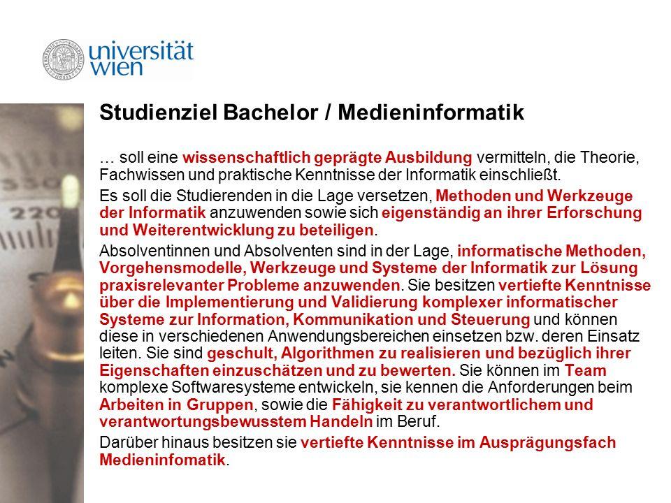 Studienziel Bachelor / Medieninformatik … soll eine wissenschaftlich geprägte Ausbildung vermitteln, die Theorie, Fachwissen und praktische Kenntnisse der Informatik einschließt.