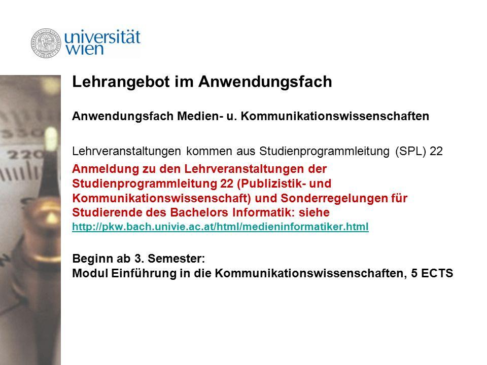 Lehrangebot im Anwendungsfach Anwendungsfach Medien- u.