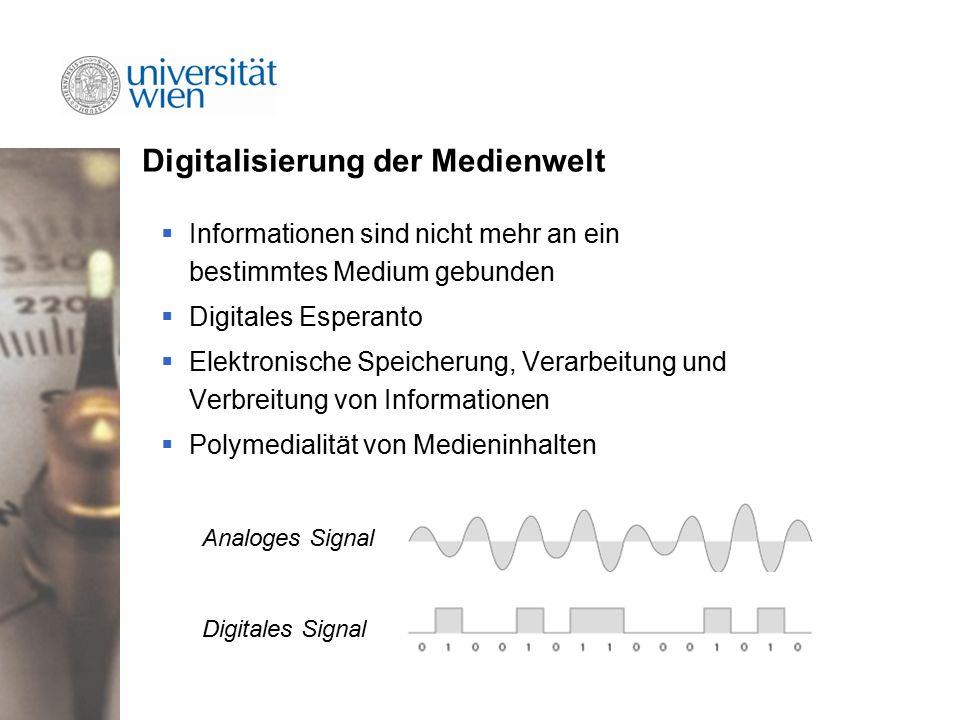 Digitalisierung der Medienwelt  Informationen sind nicht mehr an ein bestimmtes Medium gebunden  Digitales Esperanto  Elektronische Speicherung, Verarbeitung und Verbreitung von Informationen  Polymedialität von Medieninhalten Analoges Signal Digitales Signal