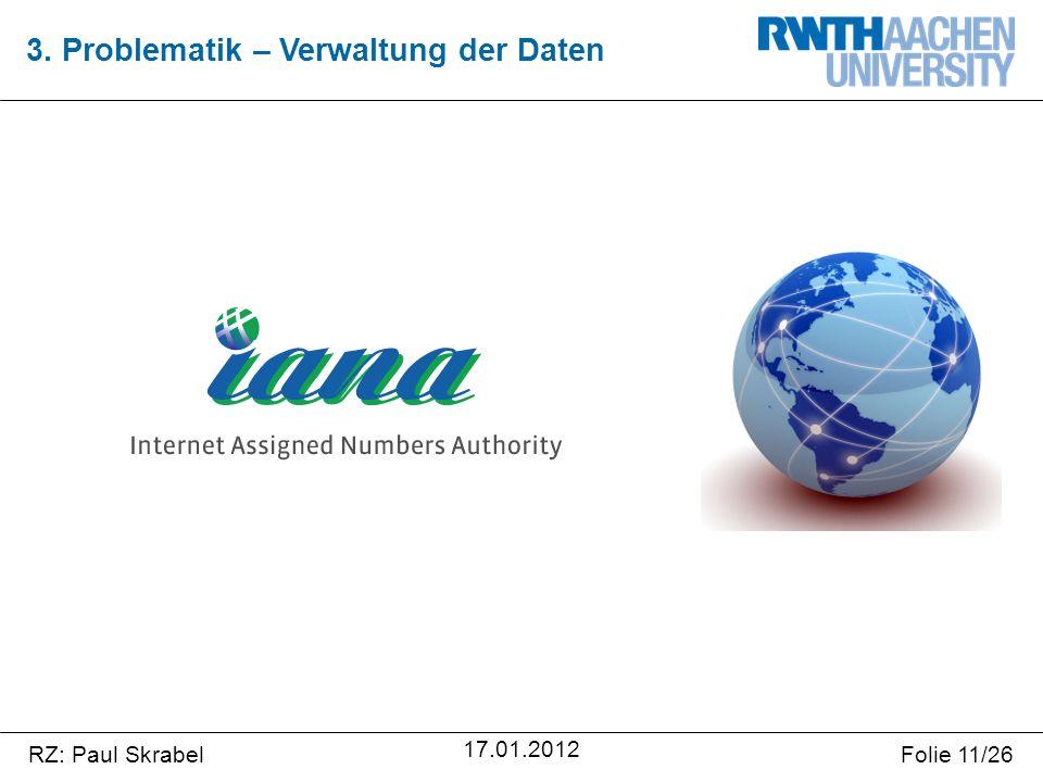 RZ: Paul SkrabelFolie 11/26 17.01.2012 3. Problematik – Verwaltung der Daten